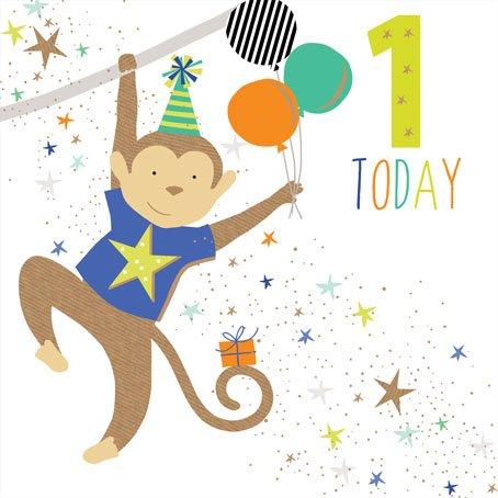 Jaz & BAZ Karten von Sara Miller-1heute Boy, Monkey (ersten Geburtstag Karte) # jb154 (Ersten Monkey Geburtstag)