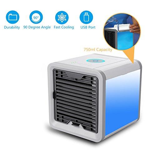 A-lee Mobiles Klimageräte mit Wasserkühlung Zimmer Raumentfeuchter Mini Klimaanlage ohne Abluftschlauch für Büro-3 Kühlstufen - 7 Stimmungslichter