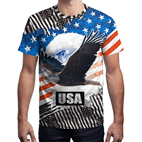 QinMM T-Shirt Tops für Männer American Flag Kleidung Druck Ärmel Bluse