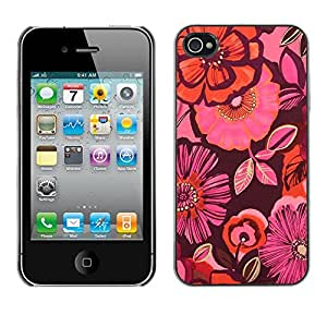 Omega Covers - Snap on Hard Back Case Cover Shell FOR Apple iPhone 4 / 4S - Wallpaper Pattern Purple Peach Pink