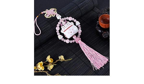 Bella Voiture Pendentif Voiture Rearview Suspendu D/écoration De Voiture Int/érieur Pendentif pour R/étroviseur avec Perles Pompon Chat chanceux Noeud Chinois