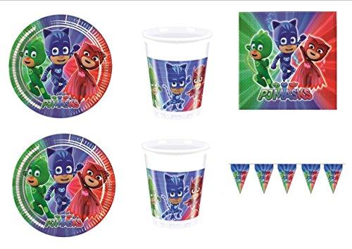 PJ Masks Super pigiamini coordonné décorations fête - Kit N ° 38 CDC- (32, 32 verres, 40 assiettes 40 serviettes, 1 bannière)