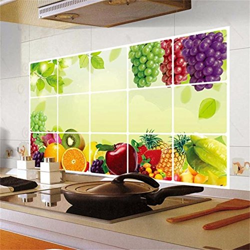 Decorie Lovely Colorful Fruits Oilproof Wall Stickers for Kitchen Home Decor 75×45cm