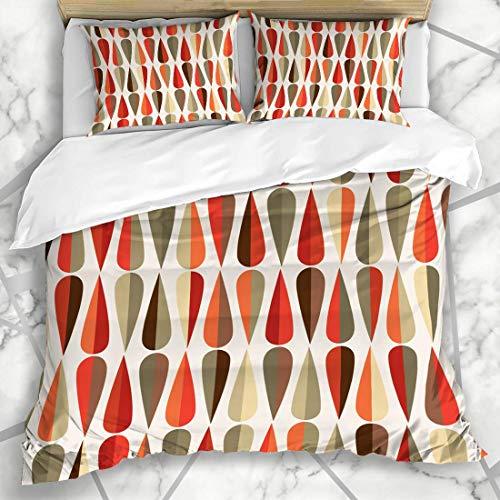 Soefipok Bettbezug-Sets 50er Jahre Muster Midcentury Modern Retro Abstrakt Grün Grafik Vintage Tropfen Geometric Tear Warme Mikrofaser Bettwäsche mit 2 Pillow Shams -