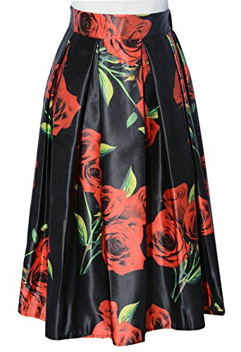 CoutureBridal® Damen Röcke Retro Sommerrock A-linie Röcke Elegant Faltenrock Knielang Rockabilly Farbe-152