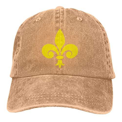 Hoswee Baseballmütze Hüte Kappe Fleur De Lis Logo Symbol Plain Adjustable Cowboy Cap Denim Hat for Women and Men -