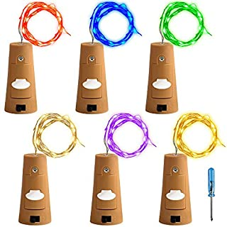 AFUNTA 6 Pcs Cork Lights with Screwdriver, Bottle Lights Fairy String LED Lights, 78 Inches/2 m Copper Wire 20 LED Bulbs for Party Wedding Concert Festival Christmas Tree Decoration - 6 Corlors