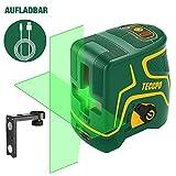 Kreuzlinienlaser Grün 30m TECCPO, USB Aufladung, Selbstnivellierenden und Pulsfunktion, Magnethalter, 120° Horizontal und Vertikal, 360° Drehbar, IP54, Schutztasche - TDLS09P