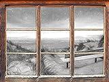 Bank in den Dünen mit Blick auf das Meer Kunst Kohle Effekt Fenster im 3D-Look, Wand- oder Türaufkleber Format: 92x62cm, Wandsticker, Wandtattoo, Wanddekoration