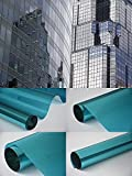 Fensterfolie - Meterware Spiegelfolie , Chrom Blau 100 cm x 152 cm - Rollenbreite 152cm Chrom Spiegel Folie Sonnenschutzfolie - viele Längen , Breiten und Farben wählbar