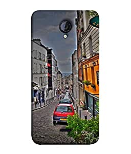 PrintVisa Designer Back Case Cover for Micromax Unite 2 A106 (big buildings road street view)