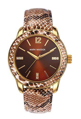 Mark Maddox Women's Quartz Watch with Brown Dial Analogue Display and Multicolour PU Strap MC3007-45