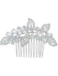 Ever Faith - Plaqué Argent plein Zircon feuille rhombe de mariée mariage cheveux peigne Transparent N04435-1