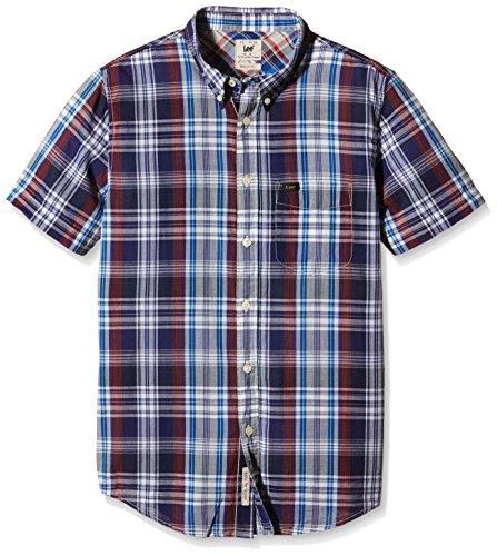 Lee - Button Down, Camicia formale Uomo Blu Navy