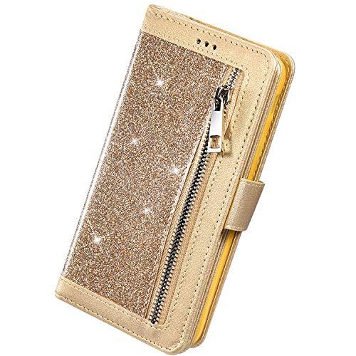 Herbests Kompatibel mit iPhone 11 Pro HandyHülle Handytasche Glitzer Bling Glänzend Brieftasche Hülle Multifunktionale Reißverschluss Leder Schutzhülle [9 Kartenfach] Handschlaufe,Gold