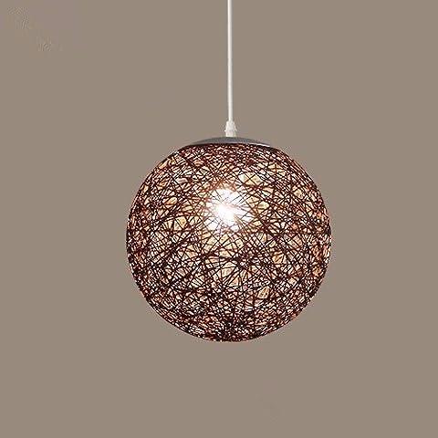 GQLB La Commission Lustre Lampe boule Lampe de salon Art et rotin ,250mm Ficelle de sisal