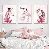 ksjdjok Flamingo Rosado Unicornio Lienzo Carteles e Impresiones Nordic Moderno Pintura Minimalista Cuadros Decorativos para la Sala de Estar 40X60cm 3 Piezas