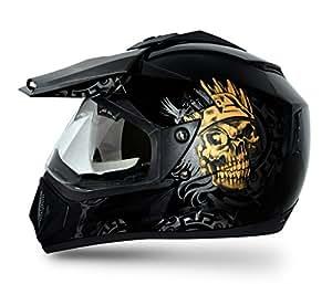 Vega Off Road Ranger Full Face Graphic Helmet (Black and Golden, S)