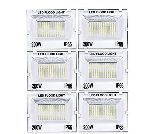 Gesto 200 Watt Ultra Thin Slim Ip66 LED Flood Outdoor Light Cool White Waterproof- 200W(Pack of 6)