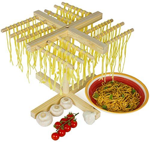 Andrew James Homemade Pasta and Spaghetti Drying Rack in Wood, Collapsible, 12 Individual Arms, Holds Up To 1KG of Pasta