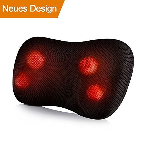 Massagegerät Nacken Schulter Rücken Shiatsu Massagekissen mit Wärme 3D-rotierenden Tiefes Gewebe Kneten Massageköpfen Muskel-Schmerzlinderung für Zuhause Auto Büro