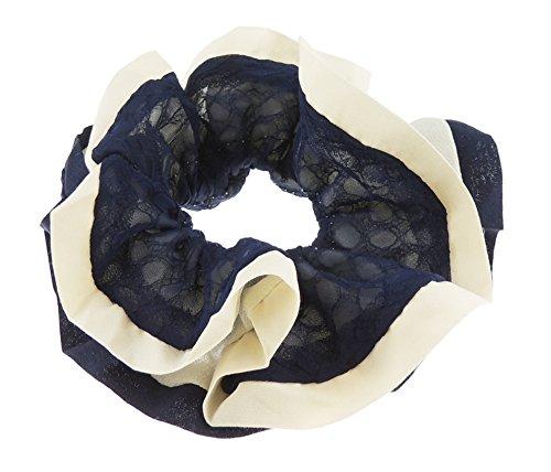 Femmes Boho rétro Blanc Mousseline Bordure Cheveux Chouchou Queue Cheveux Cravate