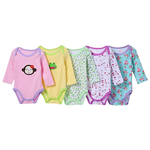 BOZEVON Pack con 5 unidades barato  Recién Nacido Bebé Largo Mangas