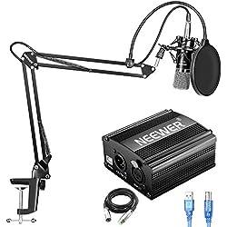 Neewer NW-700 Kit de Micrófono de Condensador con Fuente de Alimentación Fantasma USB 48V,Soporte de Brazo de Tijera Suspensión NW-35,Montaje de Choque,Filtro de Pop para Grabación de Estudio(Negro)