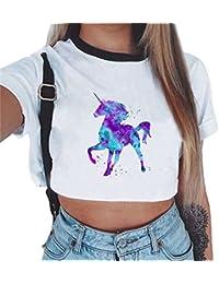 61cab96e1fbc5 ZKOOO Camiseta Corta Mujeres Manga Corta Redondo Unicornio Impresión  T-Shirt Camiseta Camisas Tops de