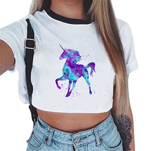 ZKOOO Camiseta Corta Mujeres Manga Corta Redondo Unicornio Impresión T-Shirt Camiseta Camisas Tops de Verano Casual