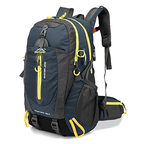 Lixada 40L Resistente al Agua Mochila, Portátil Mochila Trekking, Laptop Daypack, Durable Impermeable, para Escalada, Viajes, Actividades al Aire Libre (Azul oscuro)