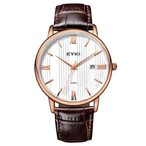 VOEONS Herren-Armbanduhr Datum Analog Quarz Braun Leder Uhr 1002L-RG