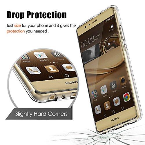 Qissy®Huawei P9 Cover Custodia, Huawei P9 Cover Morbido TPU Case Cristallo Trasparente Gel Silicone Ultra Slim Custodia Protezione Posteriore Cover Antiurto per Huawei P9 (Huawei P9, 10) 2