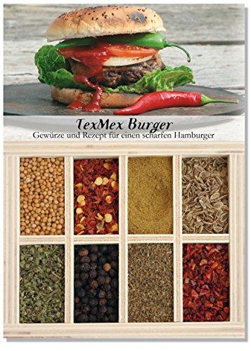 Tex Mex Burger - 8 Gewürze Set für den feurigen Burger (51g) - in einem schönen Holzkästchen - mit Rezept und Einkaufsliste - Geschenkidee für Feinschmecker von Feuer & Glas