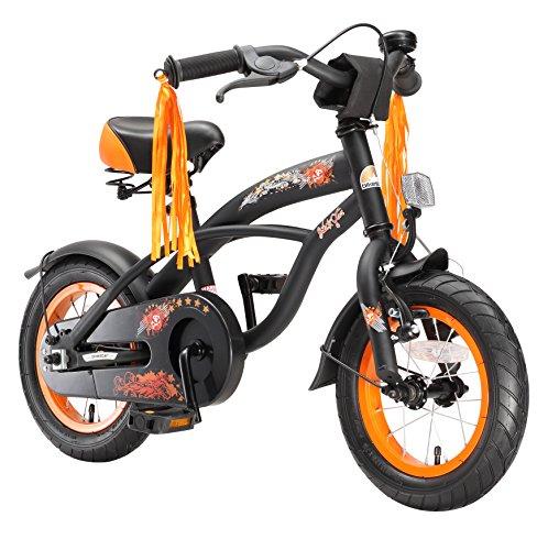 BIKESTAR® Premium Design Kinderfahrrad für coole Kids ab 3 Jahren ★ 12er Deluxe Cruiser Edition ★ Teuflisch Schwarz (matt)