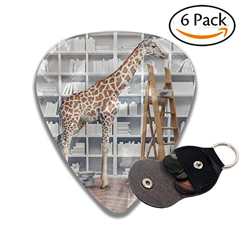 An Giraffe Baby In The Room With Book Shelves Creative Photo Combination Concept Stylish Celluloid Guitar Picks Plectrums For Guitar Bass .46mm 6 Pack