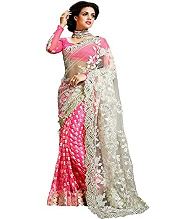 Indian E Fashion Women's Pink Georgette & Net Saree With Blouse Piece (PINK)