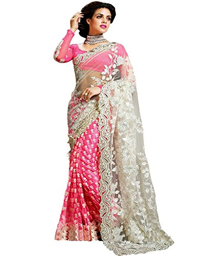 Indian E Fashion Women's Georgette & Net Saree With Blouse Piece (PINK)