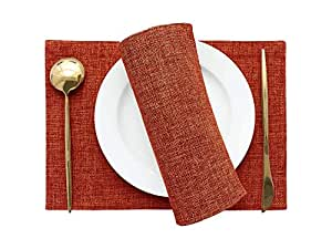 Khooti Jute Tablemats/Placemats Set of 6 Heat Resistant Dining Table Place Mats for Kitchen Table Party, 12 x 18 inches, (Orange)