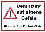 HB_Druck Benuzung auf Eigene Gefahr Schild A4 Rückseite Selbstklebend