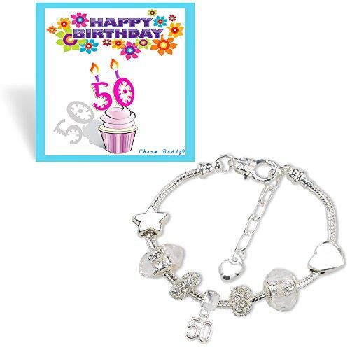 50th Birthday Sparkly Charm Bracelet Birthday Card and Gift Box Set Test