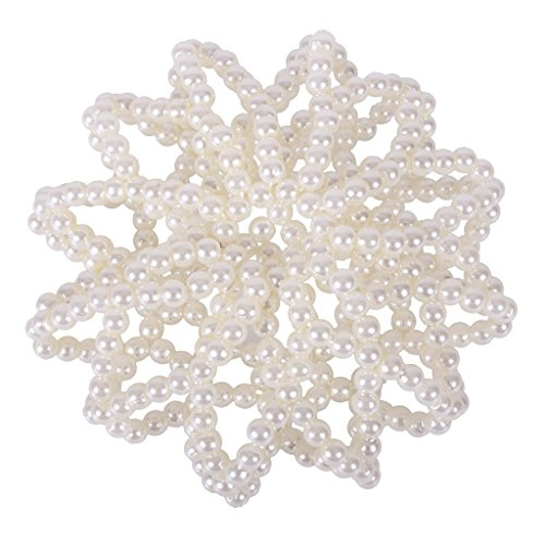 QHP Haarnetz Pearl mit Imitations-Perlen besetzt (Weiß)