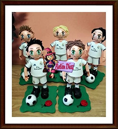 5 Fofuchos + 2 Porterías fútbol para detalles comuniones o candy, Real Madrid. Fofuchas personalizadas