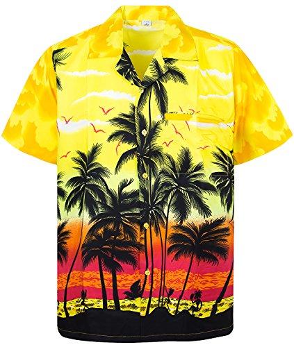 V.H.O. Funky Hawaiihemd, Kurzarm, Beach, gelb, XXL