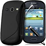Supergets® Samsung Galaxy Fame S6810 Thin Half Matte Half Glossy Wave Case Covers, Includes Screen Protector, Polishing Cloth and Mini Stylus