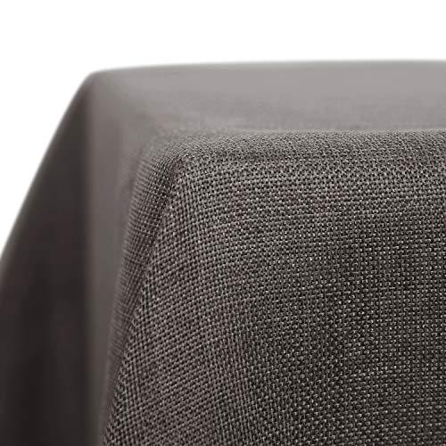 Deconovo Nappe Imperméable pour Table Carrée Anti Tache Decoration Effet Lin 150x150cm Gris