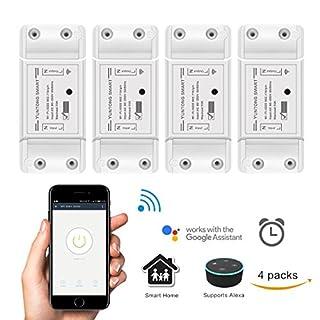 WiFi Smart Switch mit Amazon Alexa und Google Home Sprachsteuerung, AOZBZ Drahtlose Fernbedienung Relais Schalter Modul DIY Ihr Smart Home mit Countdown und Timer-Funktion AC 90-250V 2200W (4 Pack)
