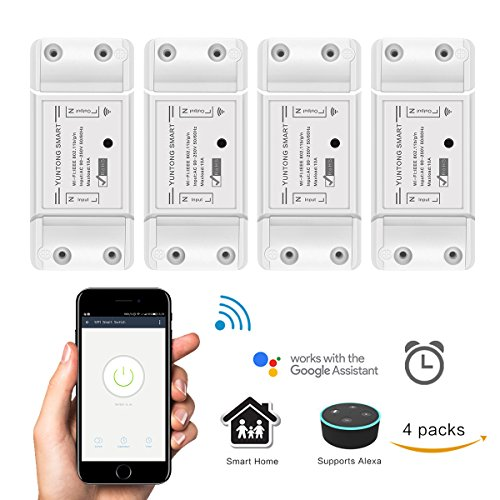 Smart Switch Intelligenter Schalter Arbeiten Sie mit Alexa (Echo, Echo Dot) / Google Home Kabelloser APP Fernbedienung wifi Switch Sprachsteuerung Countdown und Timer Funktion für iOS Android AC 90-250V 2200W (4 Pack) (Brechen Schalter)