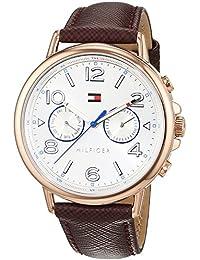 Tommy Hilfiger 1781734 - Reloj análogico de cuarzo con correa de cuero para mujer, color marrón rojo/plata