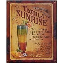 Tequila Sunrise Cóctel Vintage Cartel de chapa Recetas Nostalgie Retro Regalo